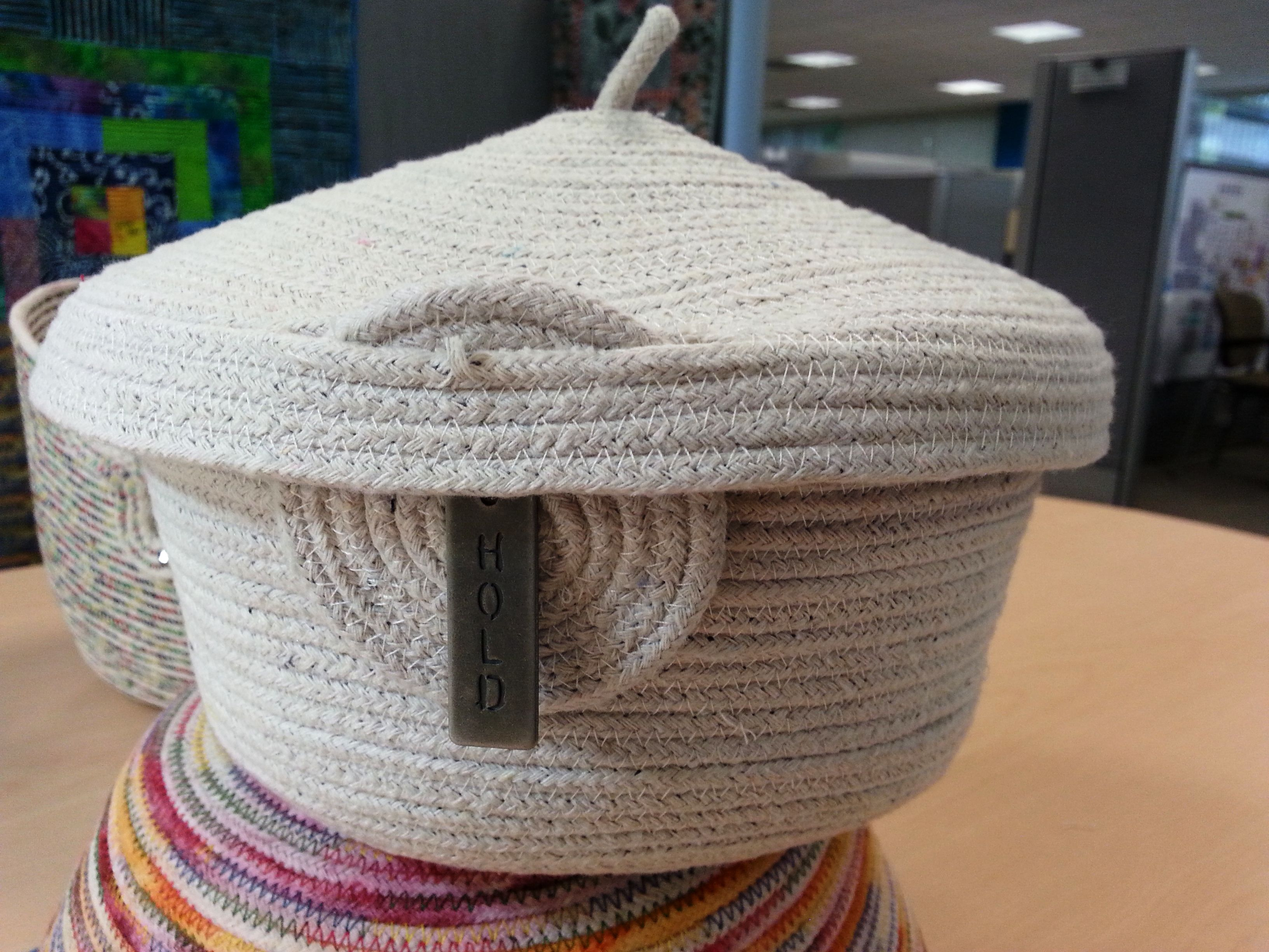 Cotton Clothesline Rope Gorgeous Plain Cotton Clothesline Lidded Basket With Peep Through Lid Made Design Ideas