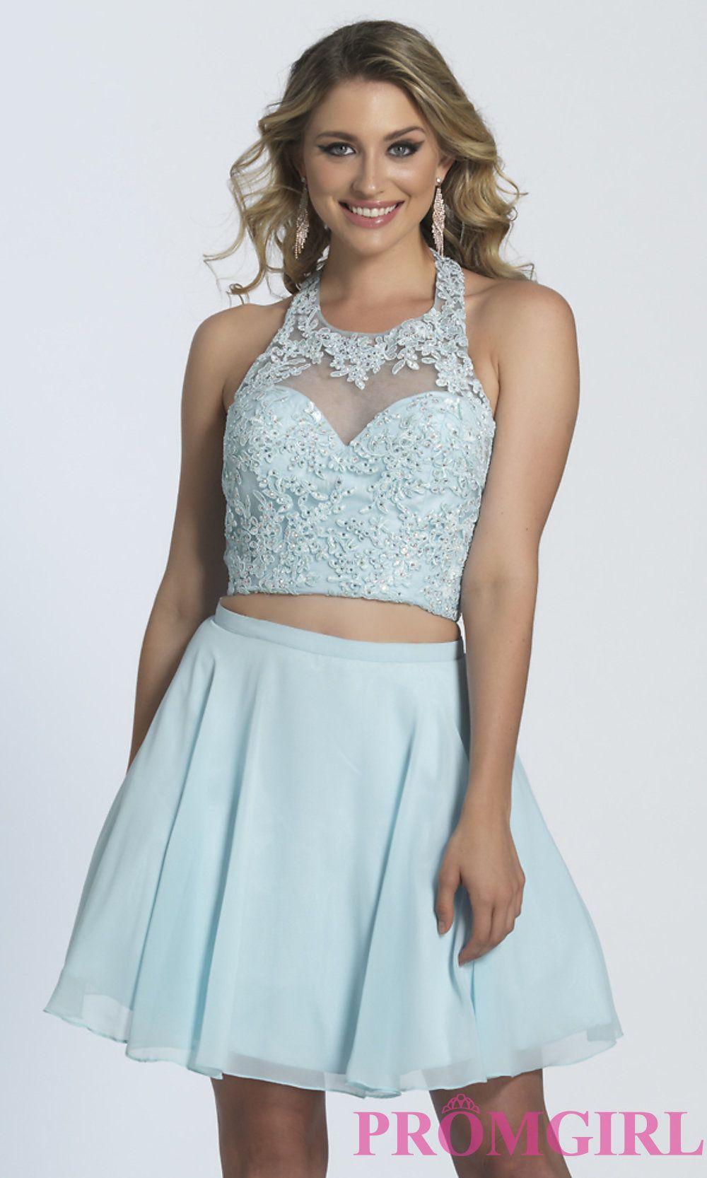 Under 100 Dollar Dress Two Piece Short Ice Blue Prom Dress Prom