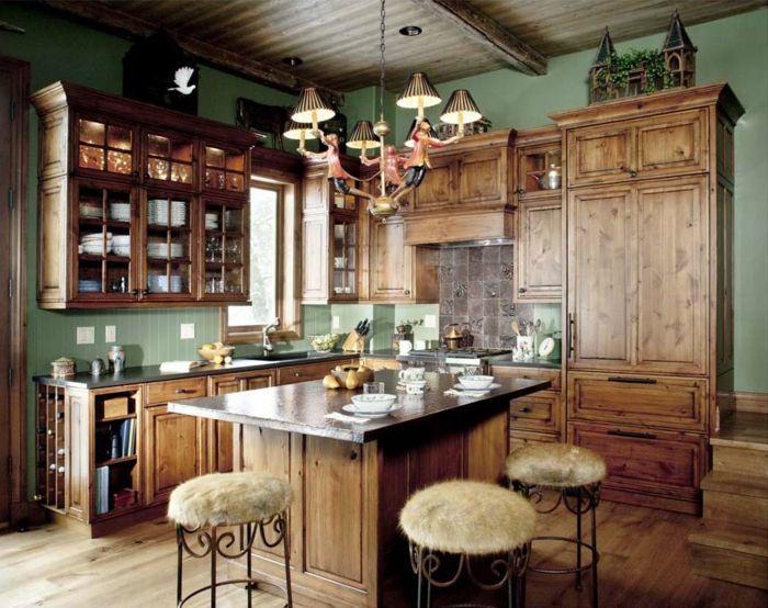 Cocina rustica cocina con isla sillas tapizadas con piel for Sillas rusticas tapizadas