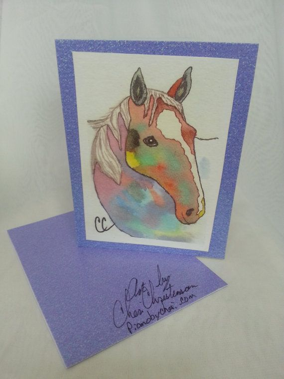 Rainbow Horse Watercolor Art Blank Card, Horse Lovers Card, Birthday Get Well Thank You Anniversary Sympathy Holiday Note Card