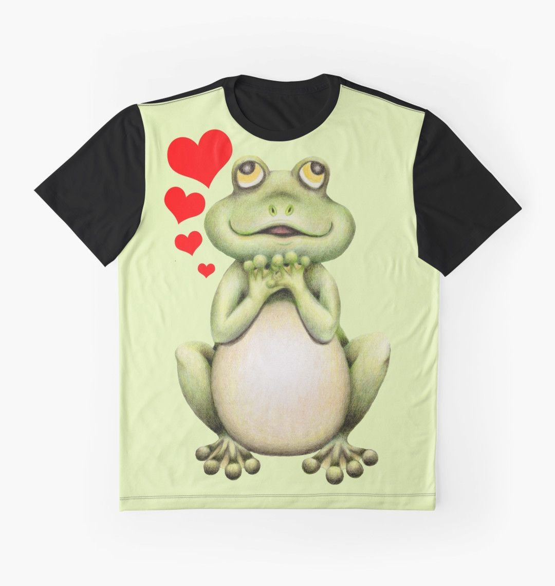Green Frog Love Drawing Graphic Shirts