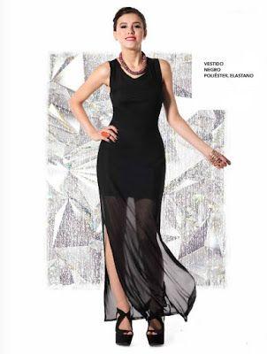 Vestido largo de moda con transparencias