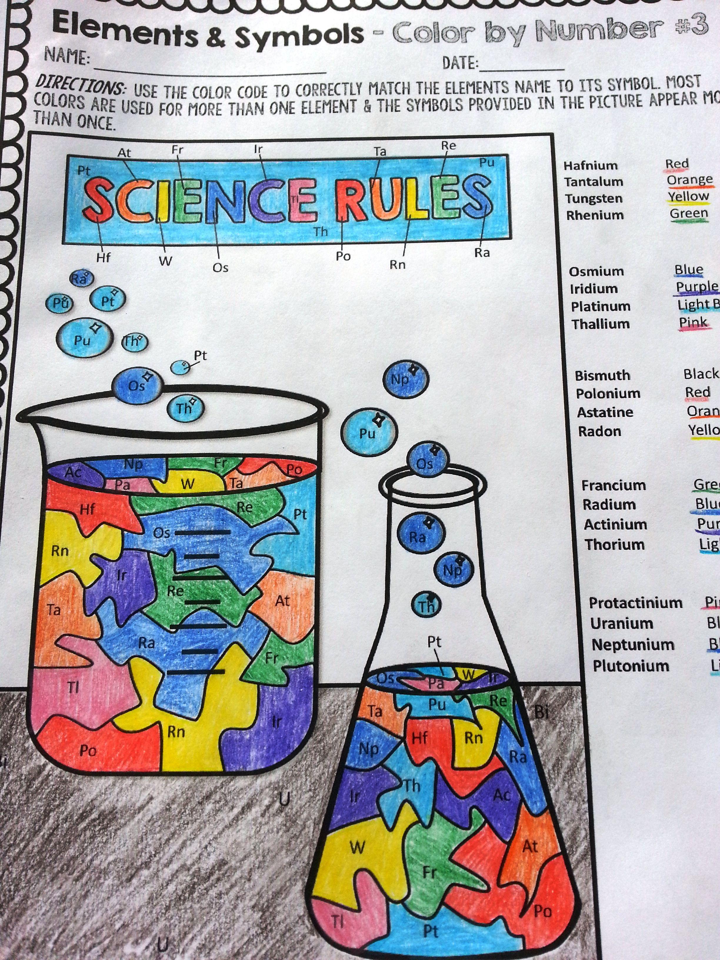 Chemical Elements Color By Symbols 3 High School Element