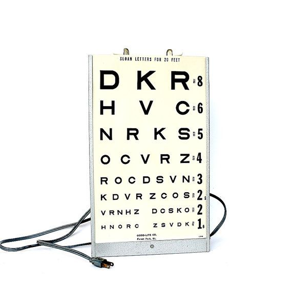 Vision Eye Chart Illuminated Vintage by HappyFortuneVintage