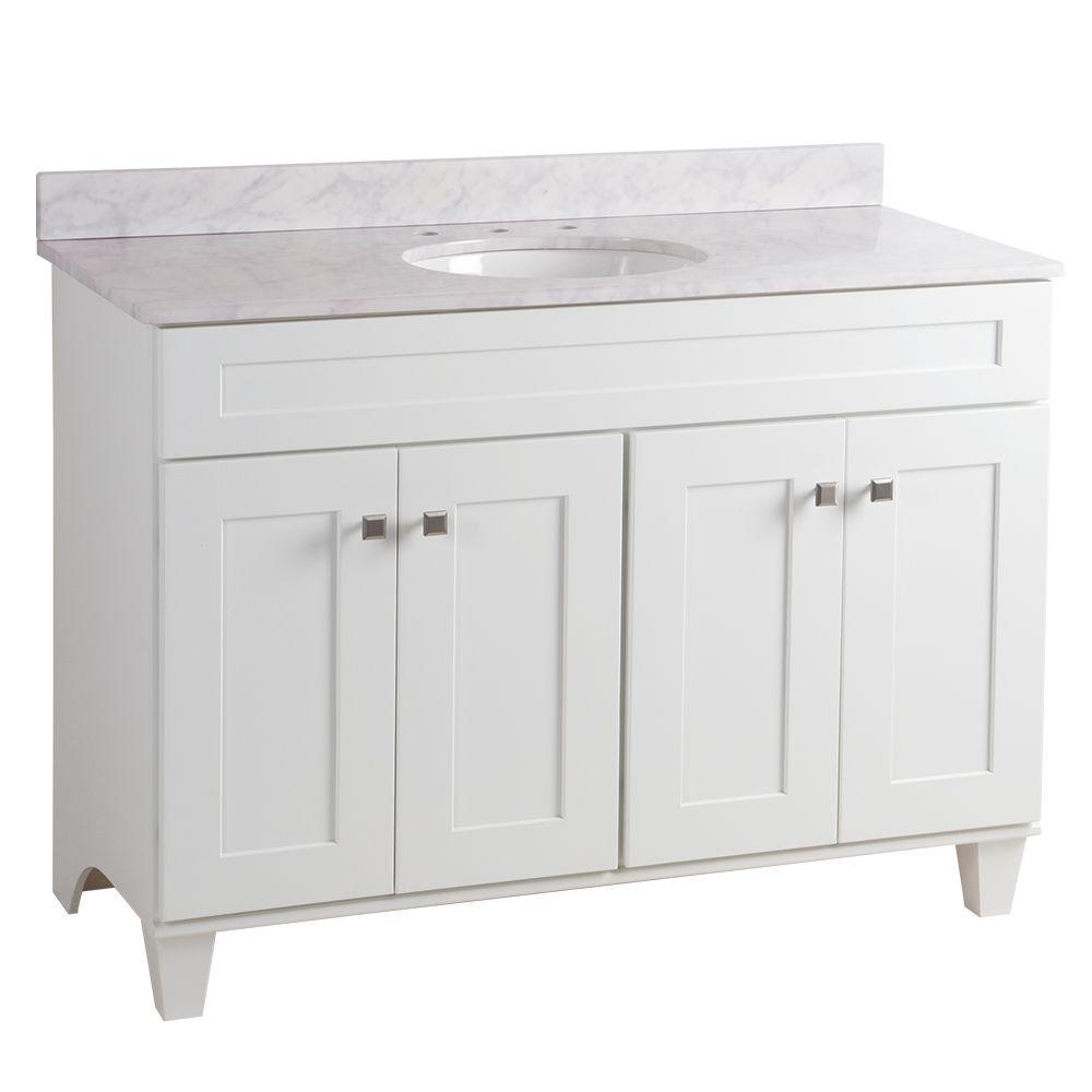 Home Decorators Collection Creeley 49 In W X 22 In D Bathroom Vanity In White With Stone Effects Vanity Top In Carrera With White Sink 19evsdb48 Seb4922 Ce White Sink Linen Cabinets [ 1000 x 1000 Pixel ]