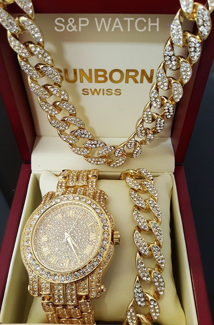 fb340d352765a8 Features: Luxury Gold Tone Hip Hop stylish watch & bracelet combo set.  Bracelet: Hip Hop celebrity Cuban CZ full iced out bracelet 14K gold plating  for a ...