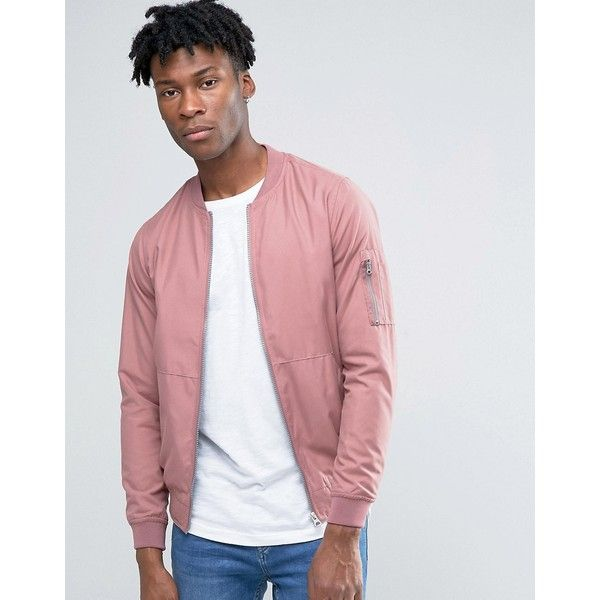 bd24dd7b8 Pull&Bear Bomber Jacket In Pink ($36) ❤ liked on Polyvore featuring ...