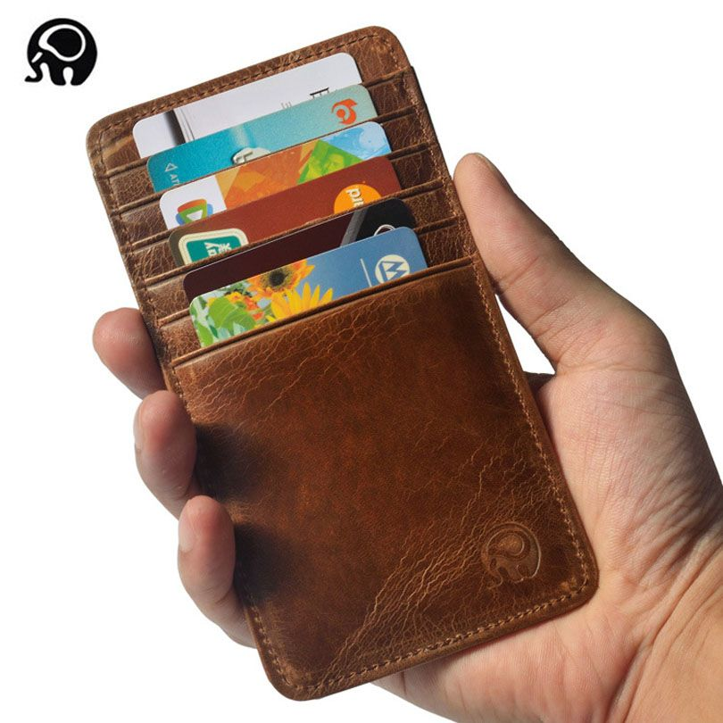 Super Thin Quality Cowhide 100% Genuine Leather 12 Card Slots ...