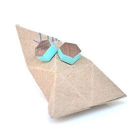 Treehorn Wooden Painted Faceted Studs Earrings Walnut