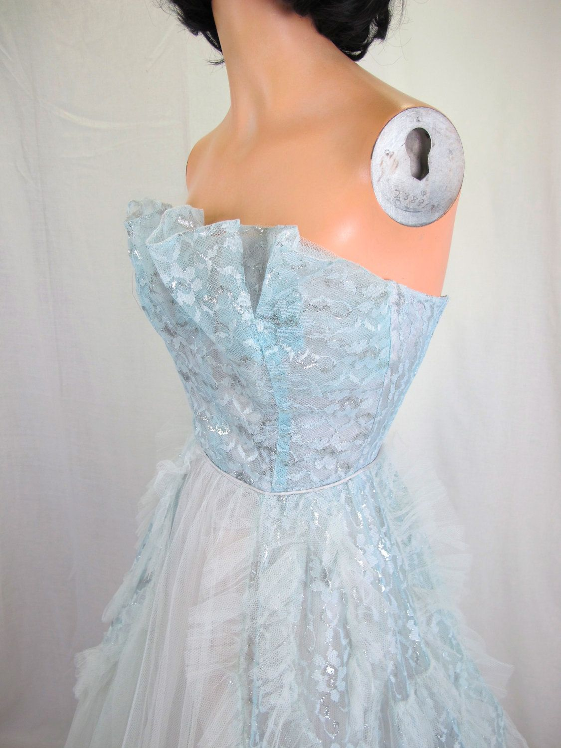 S pale blue strapless tulle party dress prom dress crumb catcher