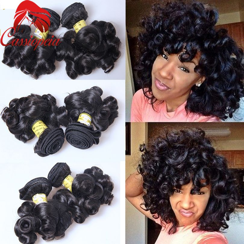 Brazilian Bouncy Curly Human Hair Bundles 3pcs Lot 100g Funmi Spring Curly Short Virgin B Brazilian Human Hair Extensions Human Hair Wefts Brazilian Hair Weave