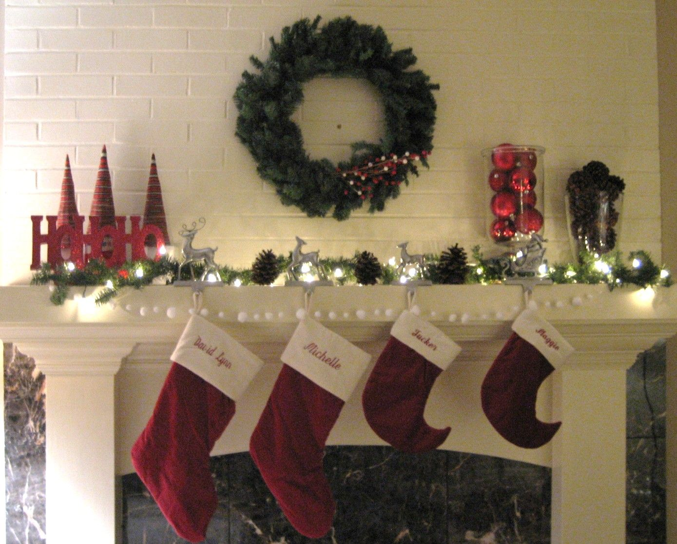 Holiday Mantel Decorating Ideas Part - 32: Feasible Christmas Themed Fireplace Mantel Decorating Ideas : Ravishing Christmas  Mantel Decorating Idea With Red Stockings Also White Fireplace Surround ...