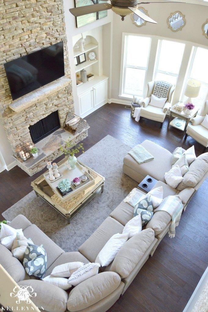 Cool Tone Spring Ready Living Room Tour Elegant living room, Stone