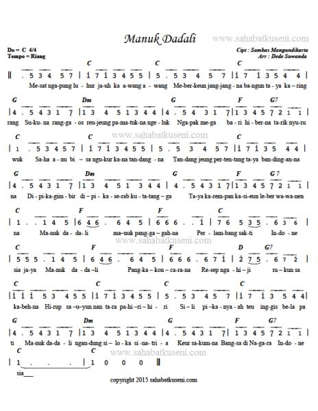Not Pianika Manuk Dadali : pianika, manuk, dadali, Chord, Manuk, Dadali, Lagu,, Lirik