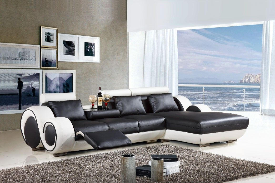 Furniture Awesome Furniture Design Ideas With Stunning Black White Leather Sectional So Affordable Modern Furniture House Furniture Design Living Room Recliner