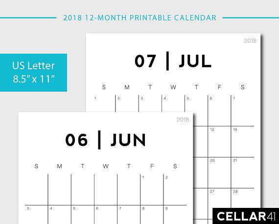 Printable 2018 Calendar Cellar41 ✽ Support Small Businesses - printable calendars