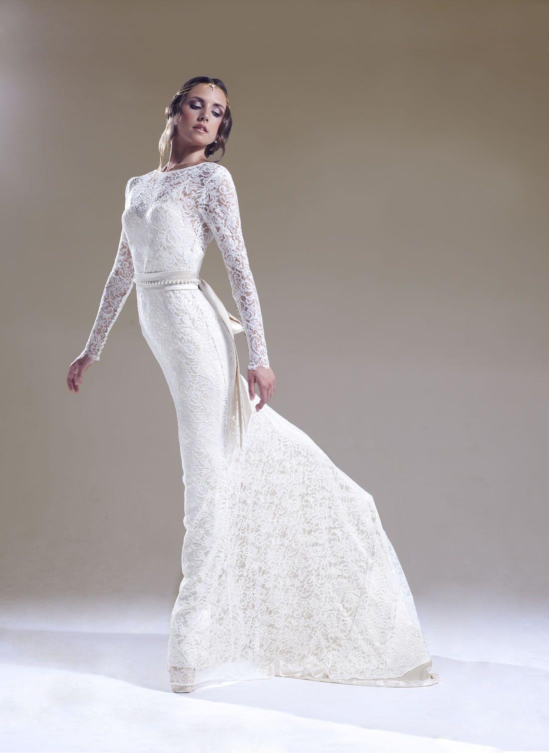 Sabina Motasem Long Lace Wedding Gown