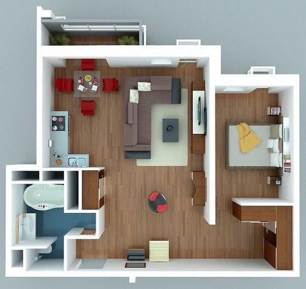 1 Bedroom Apartment/House Plans Futuristic design, Open floor and