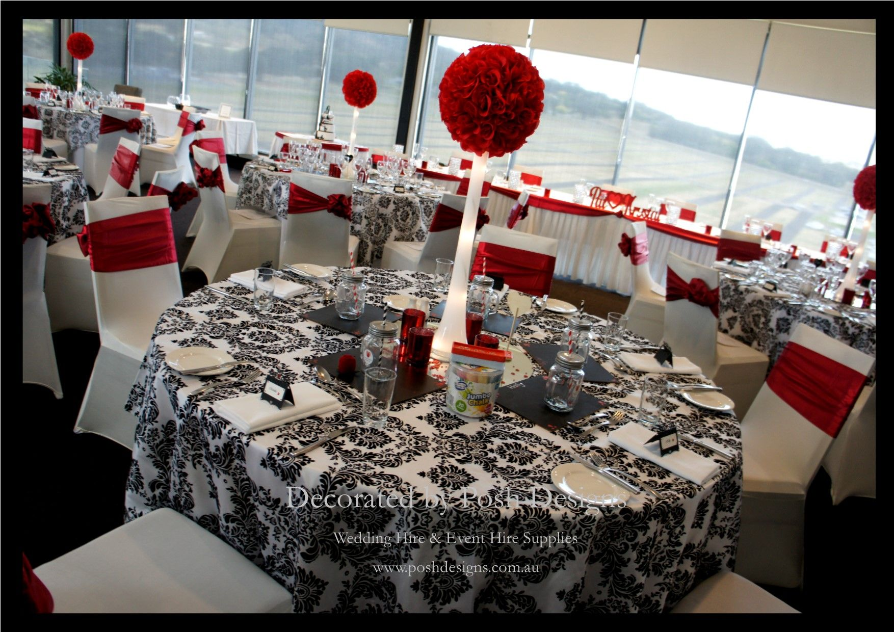 Wedding decorations red  Red white and filigree themed wedding decorations for hire