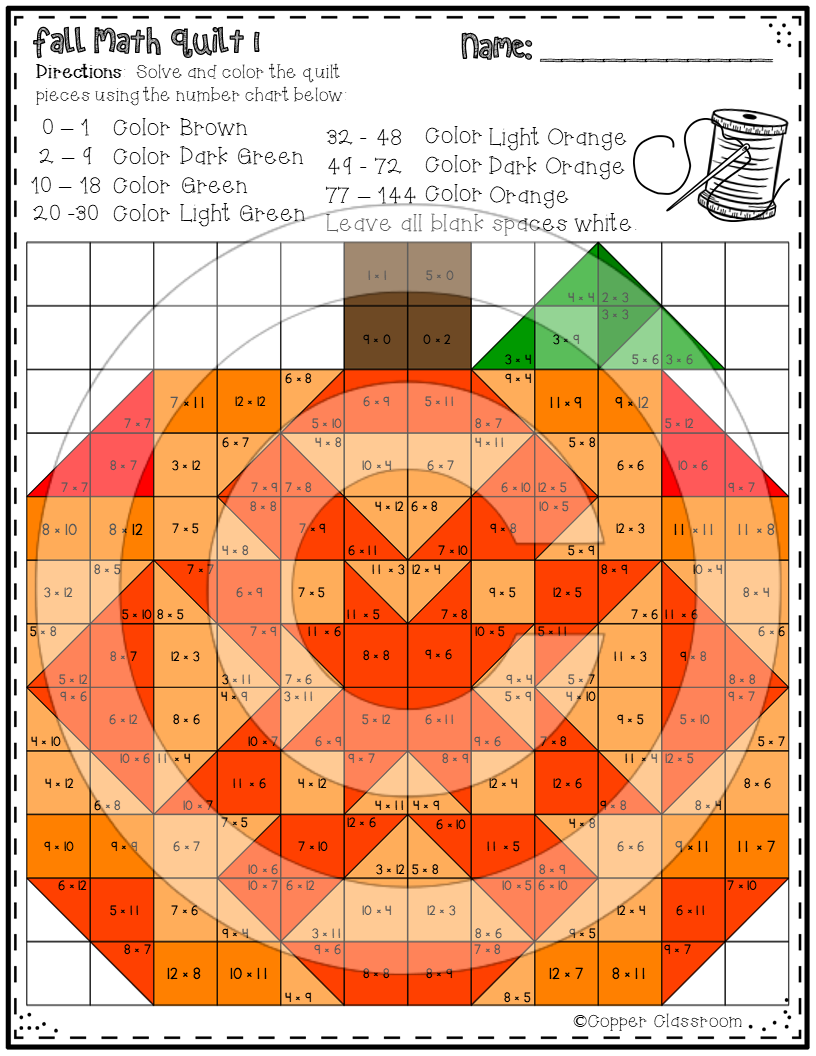 Fall Multiplication Quilts Fall Math Multiplication Facts Multiplication [ 1056 x 816 Pixel ]
