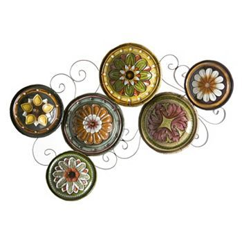Scattered Tuscan Plates Metal Wall Decor Plates On Wall Plate