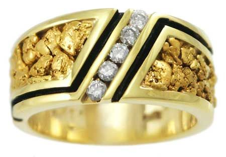 Ring with Tapered Band Natural Gold Nugget Inlay and 5 Diamonds
