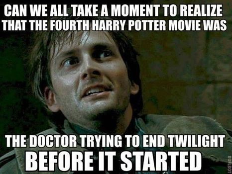 This makes more sense when you realise: David Tennant who played Doctor Who acting as Barty Crouch leading to death of Cedric Diggory played by Robert Pattinson before playing Edwin Cullen in Twilight. Talk about six degrees of Kevin Bacon.