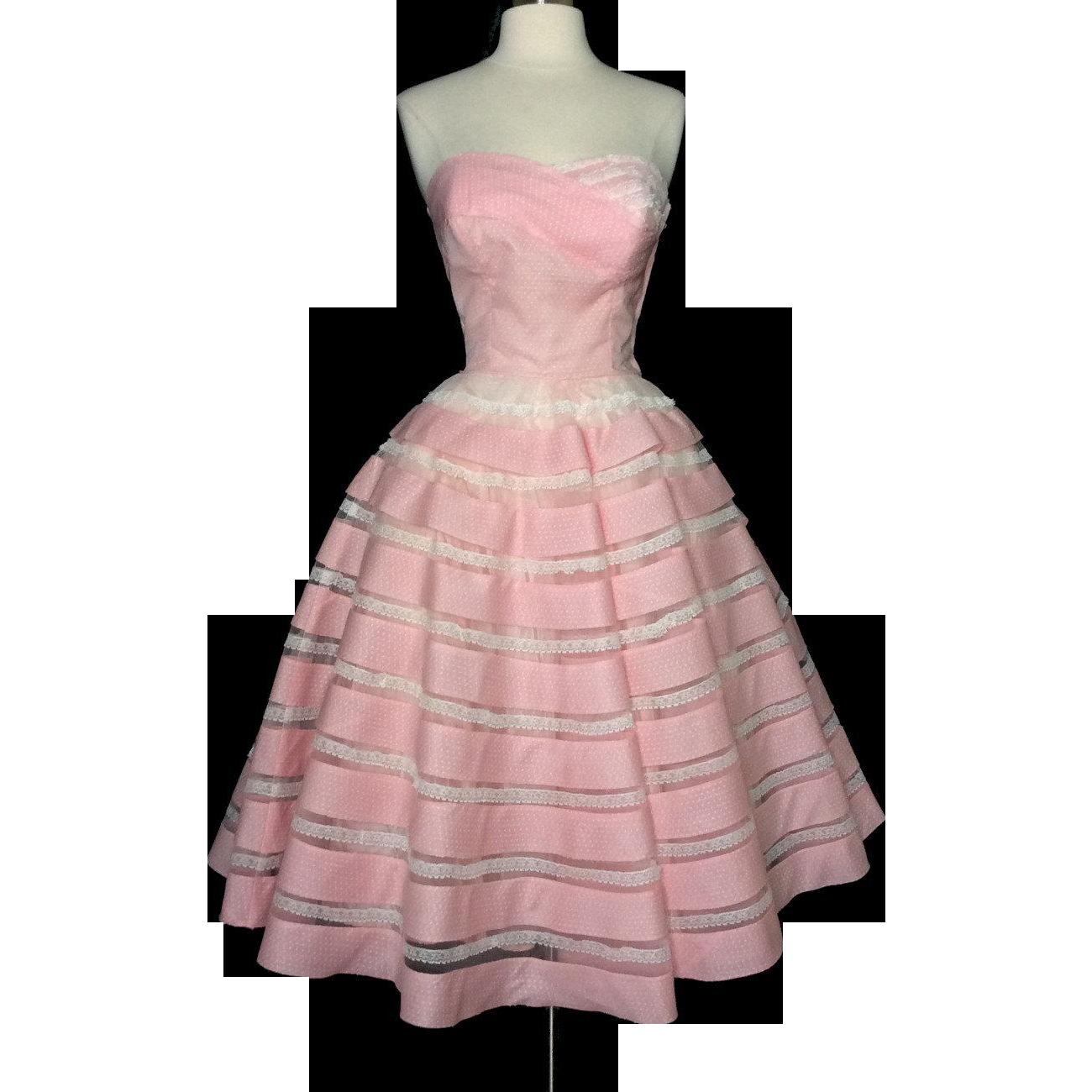 Vintage 1950s Dress//Strapless//Pink//Full Circle Dress//Mod//New ...