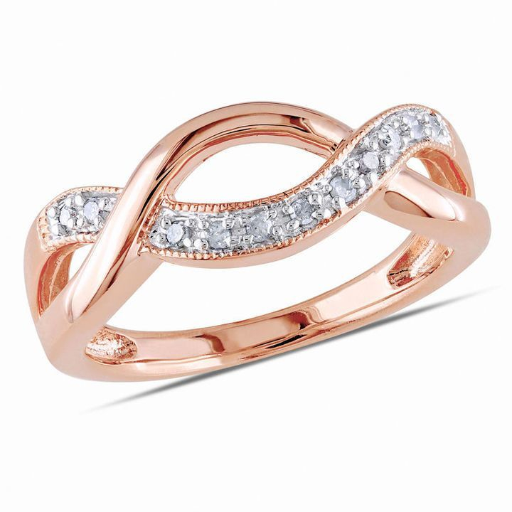 Zales Diamond Accent Open Crossover Ring in Sterling Silver with Rose Rhodium Plating AwIOrb