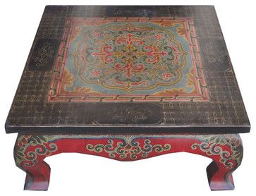 Square Tibetan Lotus Hand Paint Coffee Table Asian Coffee Tables