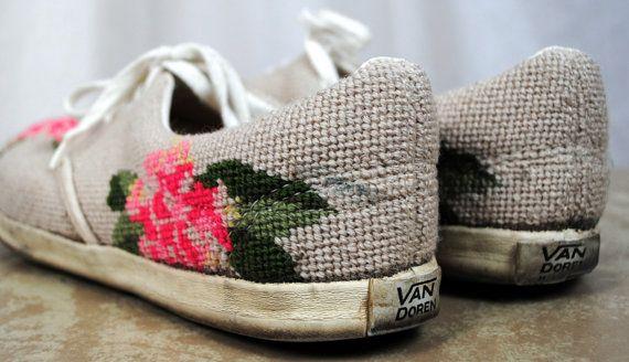 5ef2c24281 RARE Vintage 60s Floral Vans Deck Shoes Doren by RogueRetro