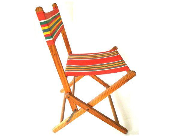 Folding Lawn Chair Wood Canvas Cloth Striped By