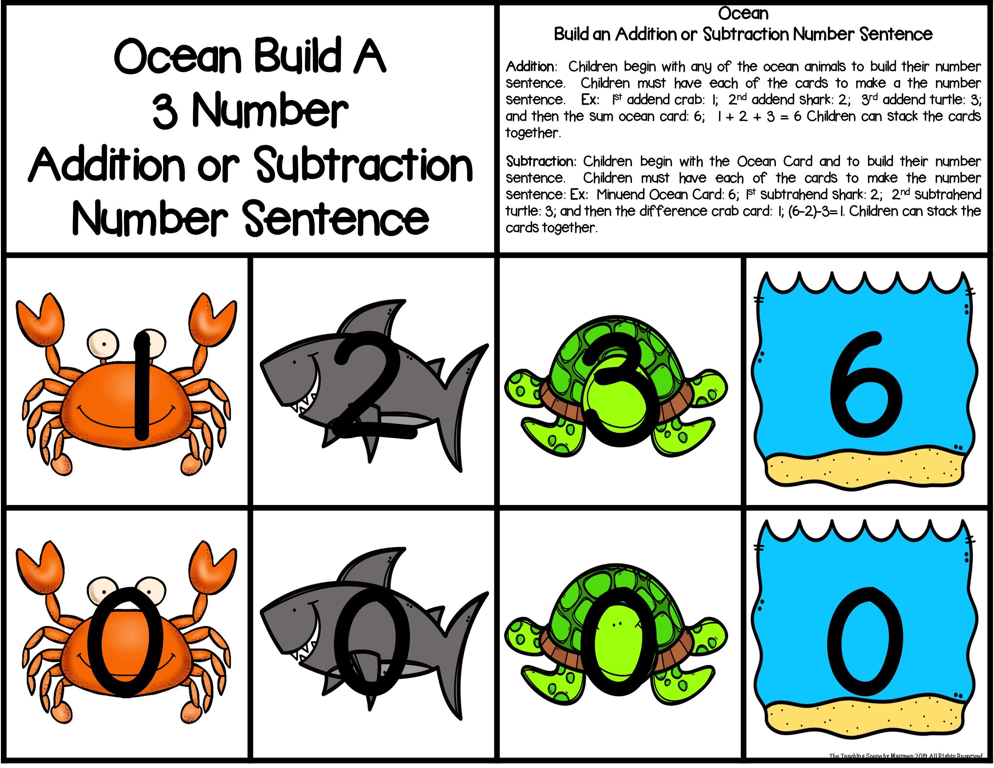 Ocean Build 3 Addend Addition Amp Subtraction Number