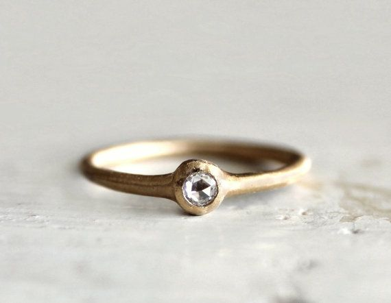 Rose cut diamond ring A simple engagement ring 18k by SundayOwl