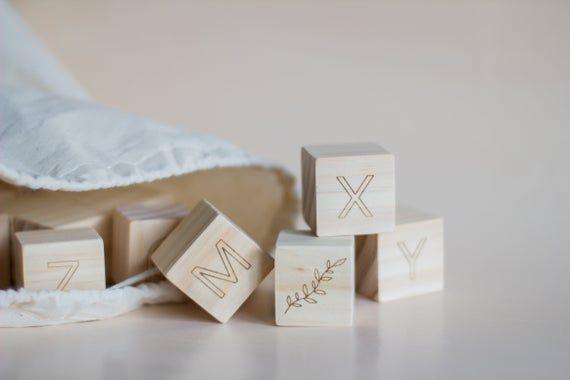 Wooden Alphabet Letters Blocks | , Baby Shower Gift, Wood Blocks, Nursery Decor, Natural Baby Toys W