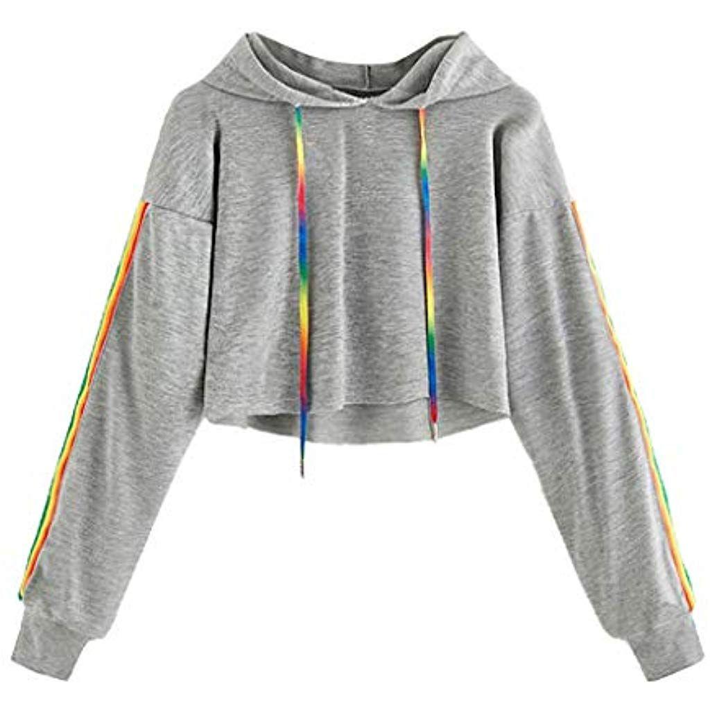 Frauen Regenbogen Farbverlauf Sweatshirt Langarm Shirt Pullover Mantel lässig