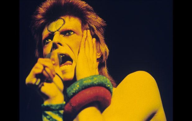 performs live at Earls Court Arena during his 1973 Ziggy Stardust tour
