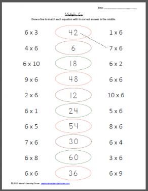 Multiply: 6's
