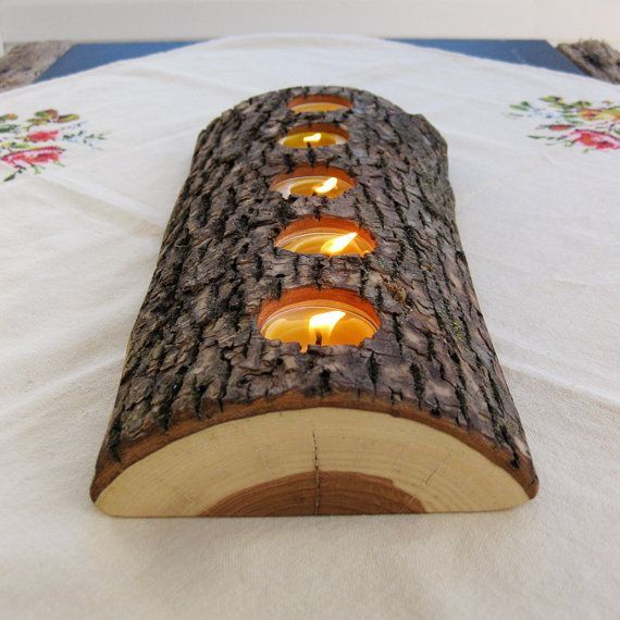 Photo of Half Log Wood Candle Holder