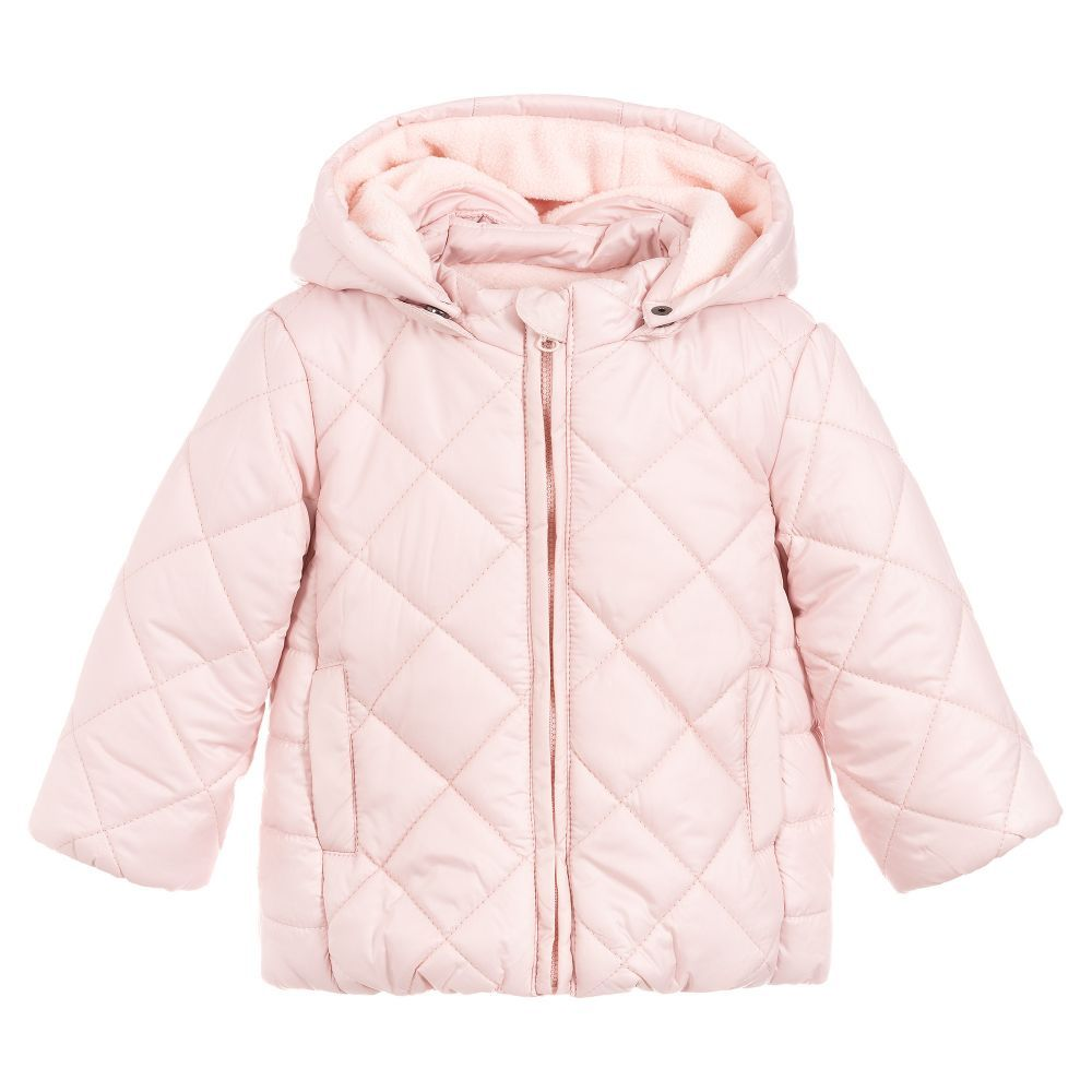 9e41e9f5c Baby Girls Pink Quilted Coat for Girl by Losan. Discover more beautiful  designer Coats & Jackets for kids online