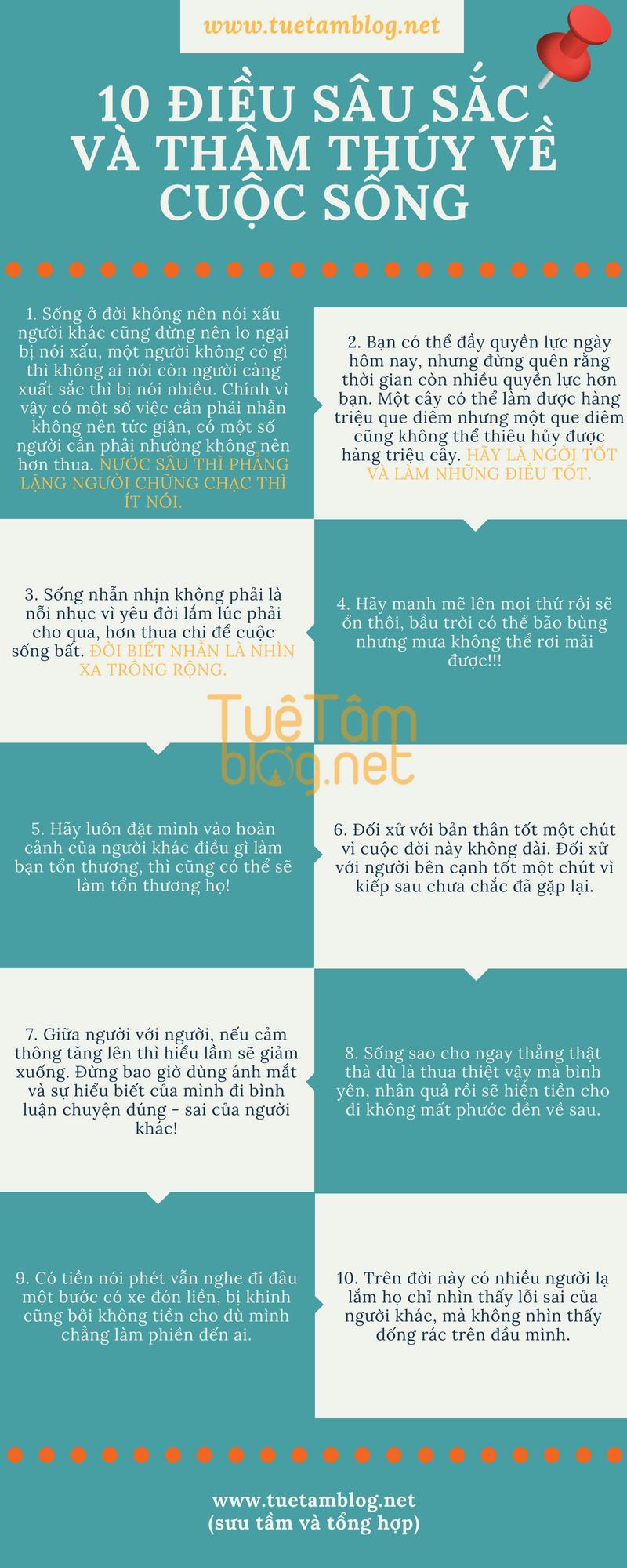 10 điều sâu sắc và thâm thúy về cuộc sống #quotes #infographic