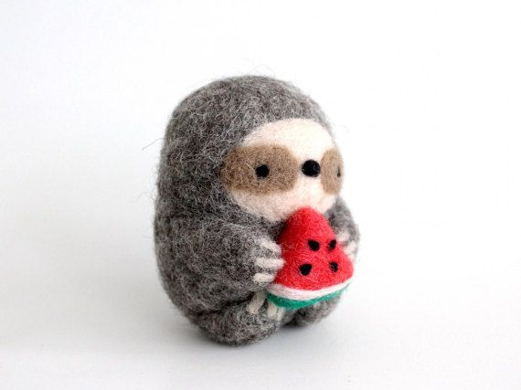 Sloth with Watermelon, Needle Felt Sloth, Sloth Gift, Felted Sloth, Felt Animal, Sloth Doll, Sloth Scupture, Sloth Decor, Sloth Miniature
