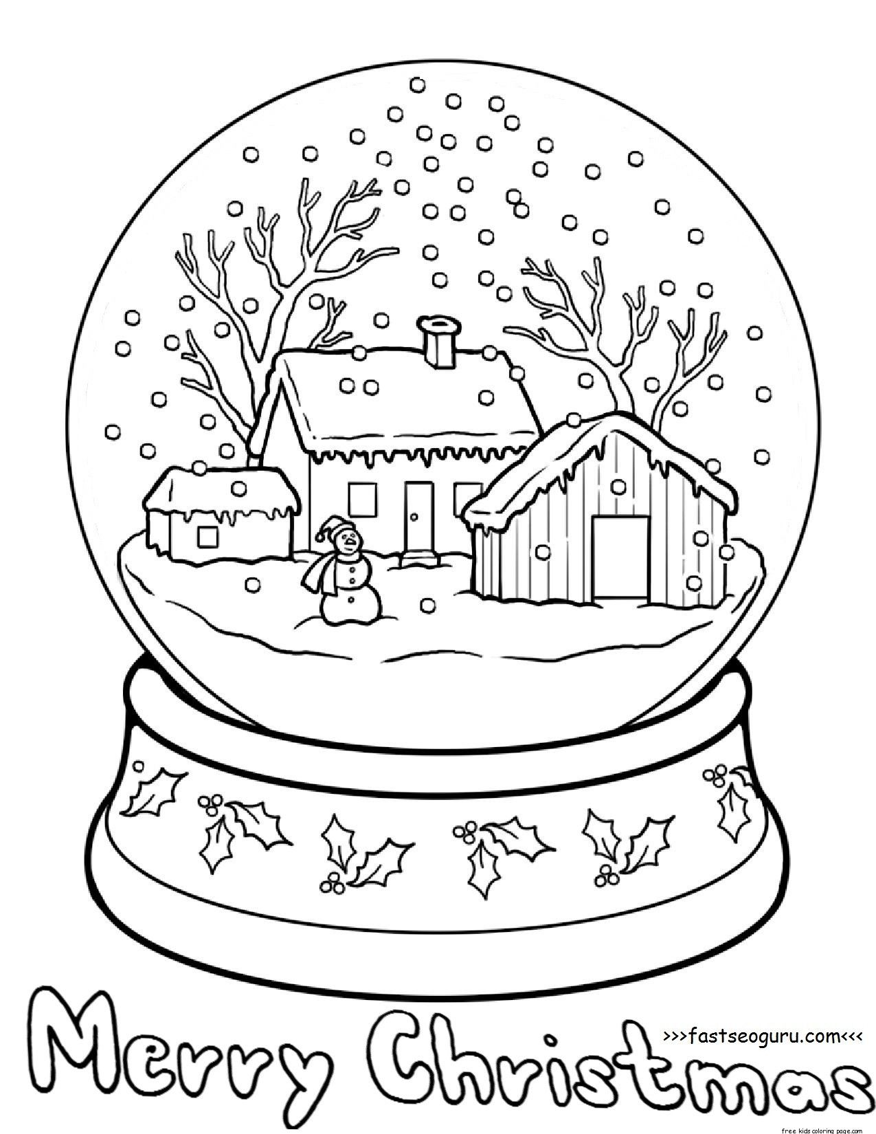 Printble Christmas Snow Globe Coloring Pages For Kids Christmas