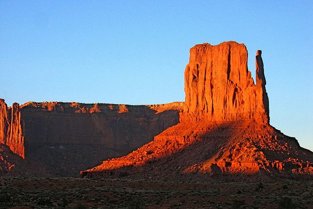 monument valley of the great chieftain    West Mitten Butte. Monument Valley Tribal Park, in the Navajo nation, AZ, UT
