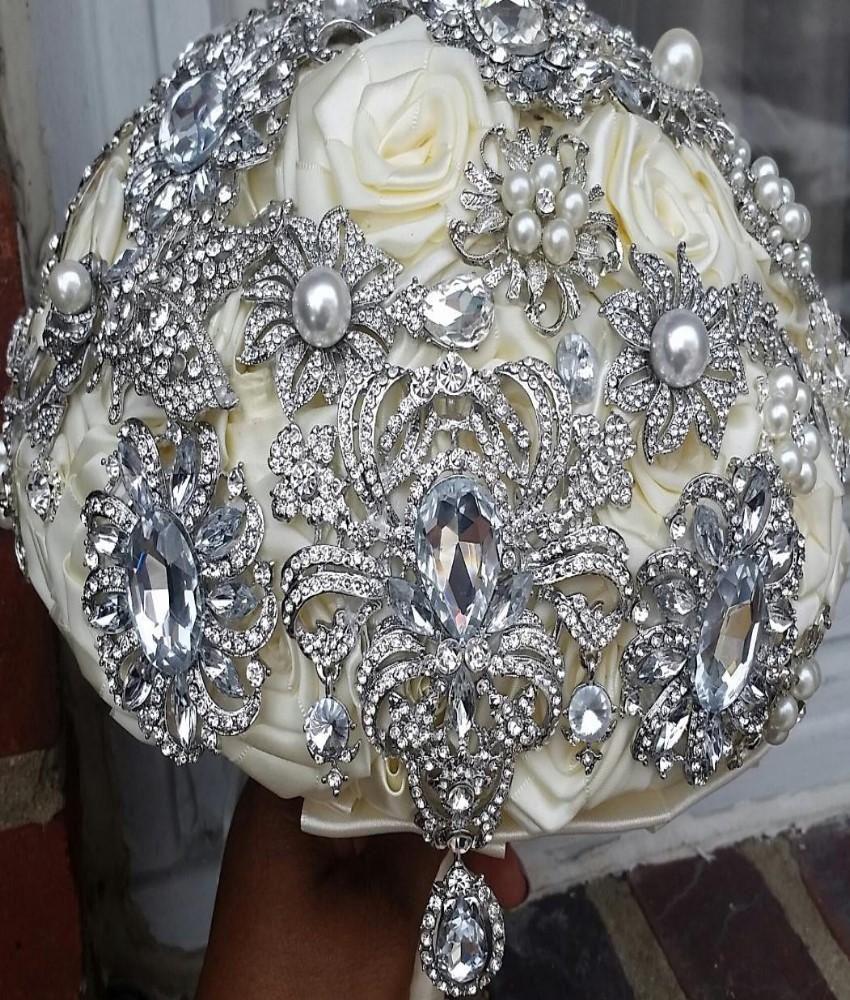 Satin Rose Brooch Bouquet BCUST LOTTI Bridal brooch