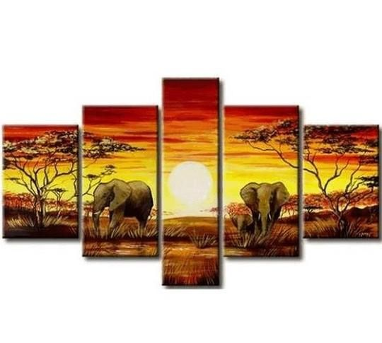 African Painting, Elephant Painting, Living Room Art, 5 Piece Wall Art, Living Room Wall Painting images