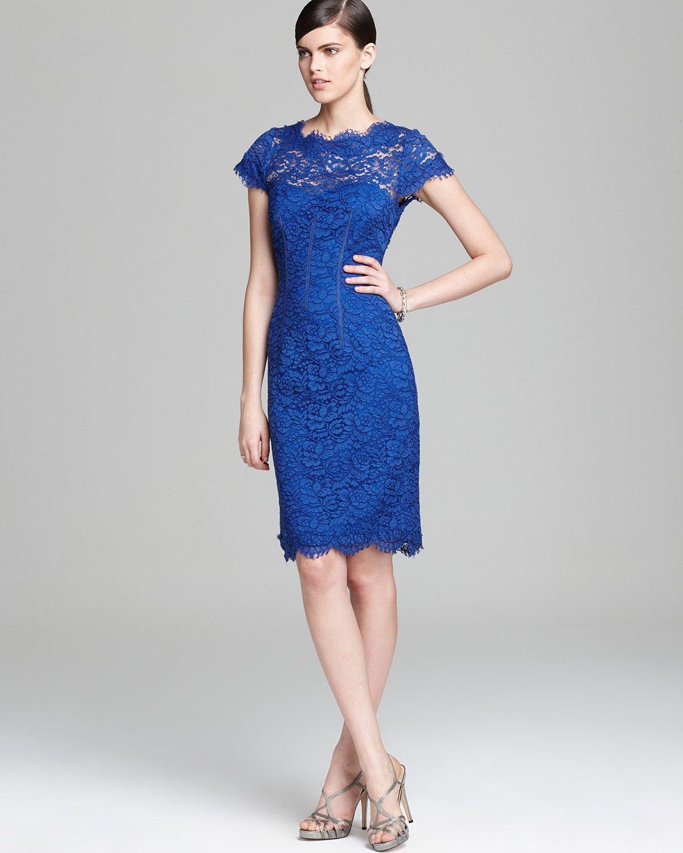 Ml Monique Lhuillier Lace Dress Cap Sleeve Sheath Bloomingdale S