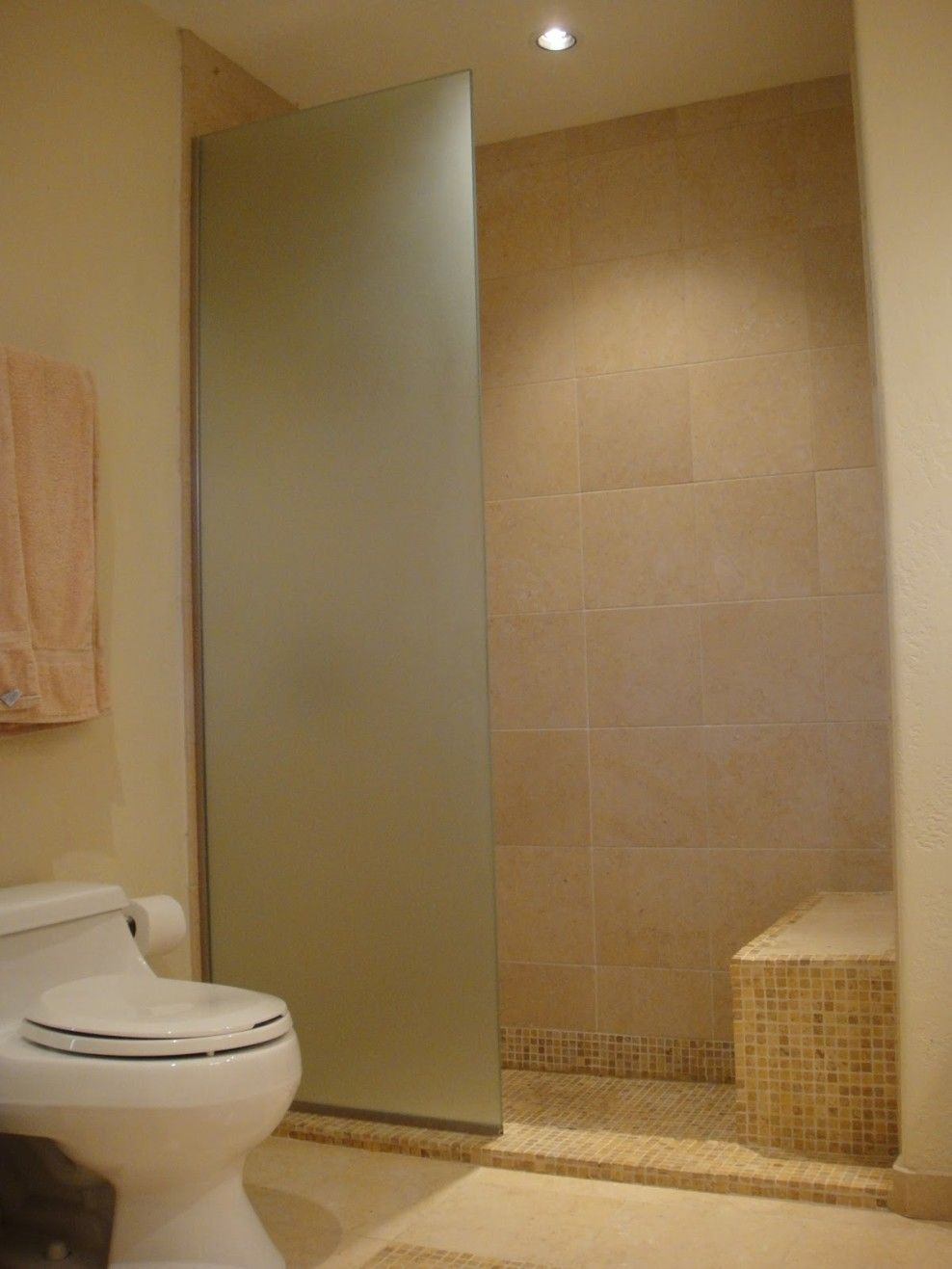 bathroom doorless shower ideas. Bathroom Design, Good Looking Inexpensive Shower Wall Ideas Limestone Combining With Shaped Glass Partition Also White Toilet As Well Hanging Doorless R
