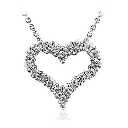 14K Gold Heart Diamond Pendant Necklace (1 Carat IGI Certified )
