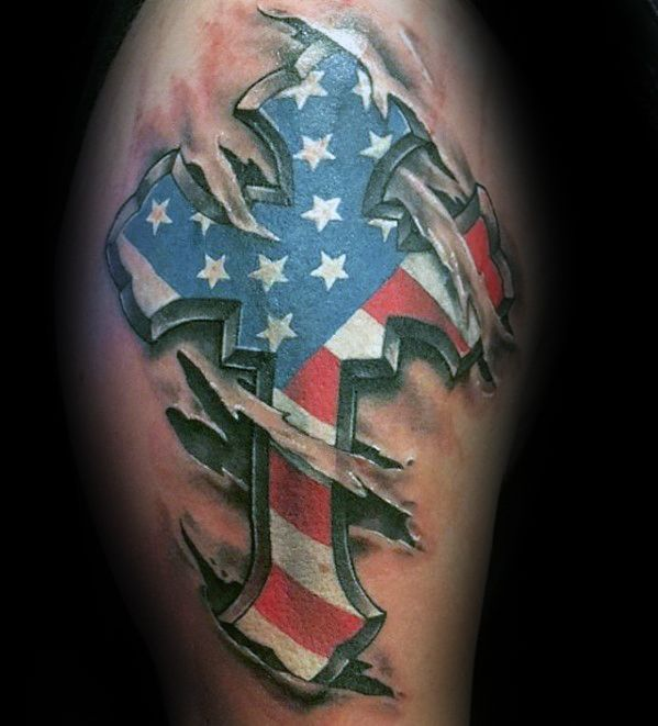 3d Ripped Skin Unique Arm American Flag Cross Mens Tattoos American Flag Sleeve Tattoo Arm Tattoos For Guys Tattoos For Guys